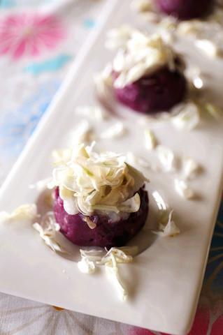 槐花紫薯蒸糕的做法