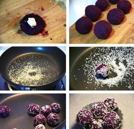 芝麻紫薯芝士球的5步做法