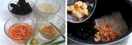 干贝海鲜粥的做法步骤1-2