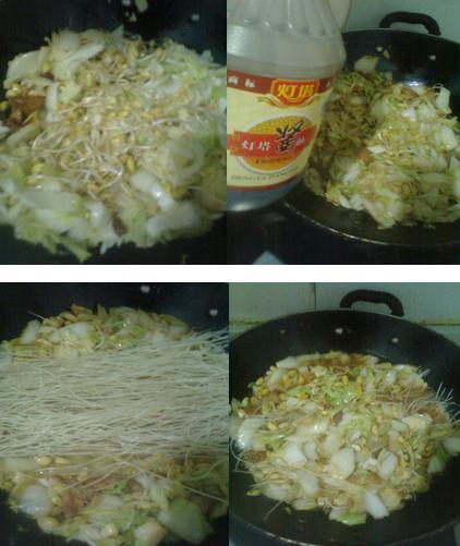 白菜豆芽炖粉条的做法