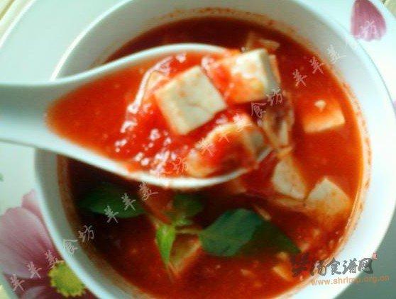 番茄汁豆腐汤的做法