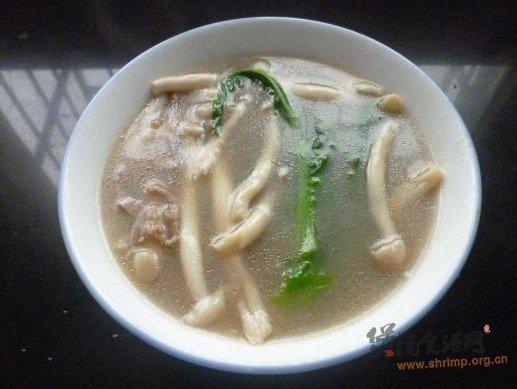 海鲜菇瘦肉青菜汤的做法