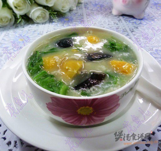 生菜双皮蛋大米粥的做法