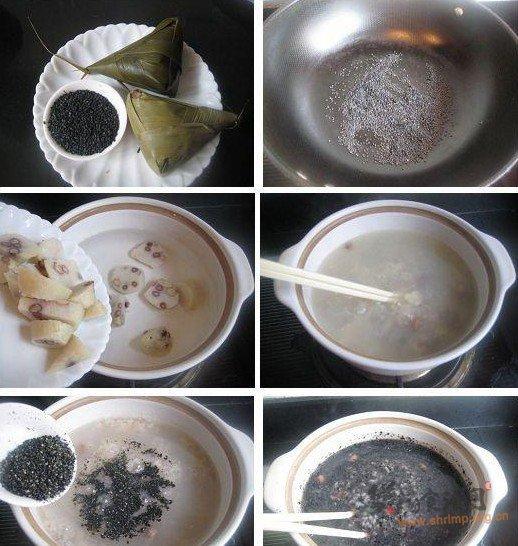 黑芝麻粽子粥的做法