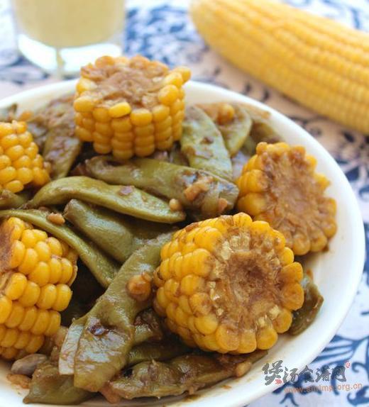 豆角炖玉米的做法